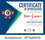 modern certificate blue... | Shutterstock .eps vector #397669045