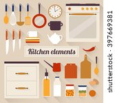kitchen elements. flat design... | Shutterstock .eps vector #397669381