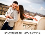 loving couple being together in ... | Shutterstock . vector #397669441