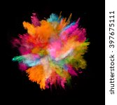 explosion of colored powder on... | Shutterstock . vector #397675111