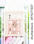 vintage cabinet with cup and... | Shutterstock . vector #397677337