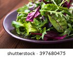fresh salad with mixed greens ... | Shutterstock . vector #397680475