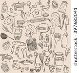 set of hand drawn cookware.... | Shutterstock .eps vector #397682041