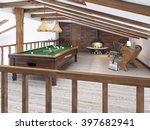 billiard room in the attic with ... | Shutterstock . vector #397682941