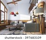 modern living room in a loft... | Shutterstock . vector #397683109