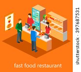 isometric fast food restaurant | Shutterstock . vector #397687531