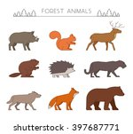 Outline Set Of Forest Animals....