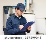 technician servicing an hot...   Shutterstock . vector #397699045