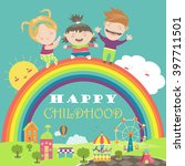 happy children with rainbow and ... | Shutterstock .eps vector #397711501