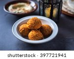 bowl of fresh falafel with...   Shutterstock . vector #397721941
