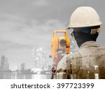 double exposure man survey and...   Shutterstock . vector #397723399