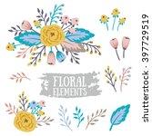 hand drawn vintage floral... | Shutterstock .eps vector #397729519