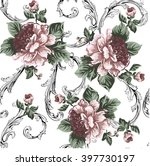 baroque pattern with peony... | Shutterstock .eps vector #397730197