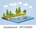 campsite near the river. 3d... | Shutterstock .eps vector #397733059