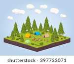 campsite in the woods. 3d... | Shutterstock .eps vector #397733071