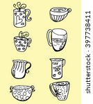 set of stylized cups. a tea set.... | Shutterstock .eps vector #397738411