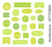 big set of healthy food badges. ...   Shutterstock .eps vector #397753804