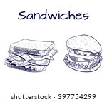sandwich and burger outline... | Shutterstock .eps vector #397754299