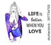 hand drawn fashion model... | Shutterstock . vector #397756705