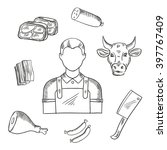 butcher profession icons for... | Shutterstock .eps vector #397767409