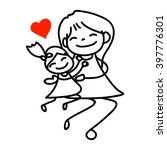 Hand Drawing Cartoon Happy Mom...