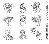 hand drawing cartoon happy... | Shutterstock .eps vector #397776307