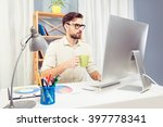 man in glassses drinking coffee ... | Shutterstock . vector #397778341