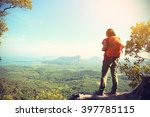 successful woman hiker enjoy... | Shutterstock . vector #397785115