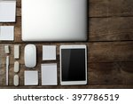 set of office stationery with a ... | Shutterstock . vector #397786519