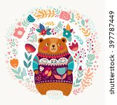 vector pattern with  adorable... | Shutterstock .eps vector #397787449