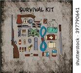hand drawn survival kit set | Shutterstock .eps vector #397790641