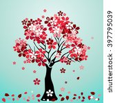 cherry blossom background.... | Shutterstock .eps vector #397795039