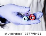 test tubes in hand  palm ... | Shutterstock . vector #397798411