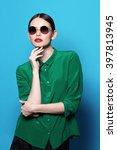 fashion model in sunglasses  ... | Shutterstock . vector #397813945