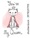 vintage poster with stylish cat ...   Shutterstock .eps vector #397819795