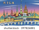 vector sketch of old town and... | Shutterstock .eps vector #397826881