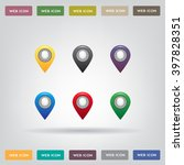 set of six round  colorful map... | Shutterstock .eps vector #397828351