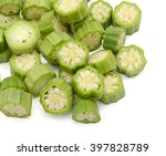 Small photo of Chopped (okra) abelmoschus on white