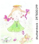 the girl with cherries on her... | Shutterstock . vector #397830199