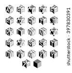cubic alphabet set. vector... | Shutterstock .eps vector #397830391