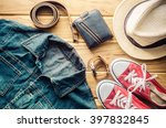 travel clothing accessories... | Shutterstock . vector #397832845