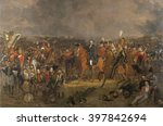 The Battle of Waterloo, by Jan Willem Pieneman, 1824, Dutch painting, oil on canvas. Duke of Wellington receiving the message that Prussian forces are coming to his aid. Dutch Crown Prince, later King