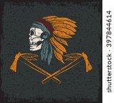 Native American Chief Skull In...