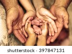 hands of father  mother ... | Shutterstock . vector #397847131
