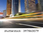 the light trails on the modern... | Shutterstock . vector #397863079