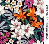 seamless exotic pattern with... | Shutterstock .eps vector #397871365