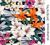 tropical floral seamless... | Shutterstock .eps vector #397874791
