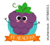 grapes  cute fruit vector... | Shutterstock .eps vector #397880311