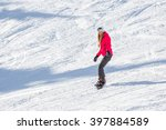 beautiful girl snowboarding in... | Shutterstock . vector #397884589