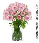 Stock photo bouquet of pink roses in glass vase isolated on white background 397887619